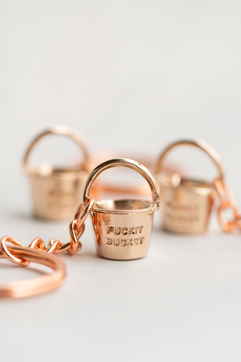 Rose Gold Fuckit Bucket. Charm, keychain,necklace.